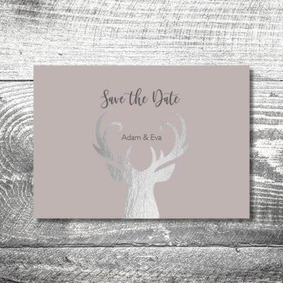 Save the Date Silberner Hirsch | 2-Seitig | ab 0,70 €