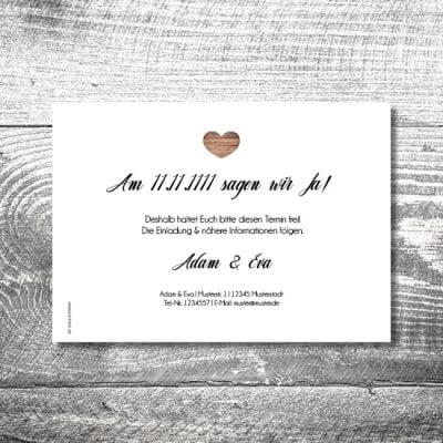 Save the Date Vintageholz | 2-Seitig | ab 0,70 €