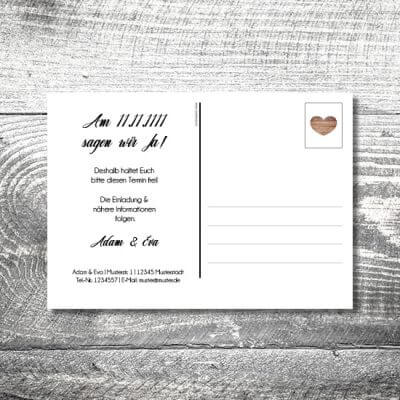 Save the Date Vintageholz Postkarte | 2-Seitig | ab 0,70 €
