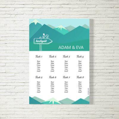 Tischplan Hochzeit Berge