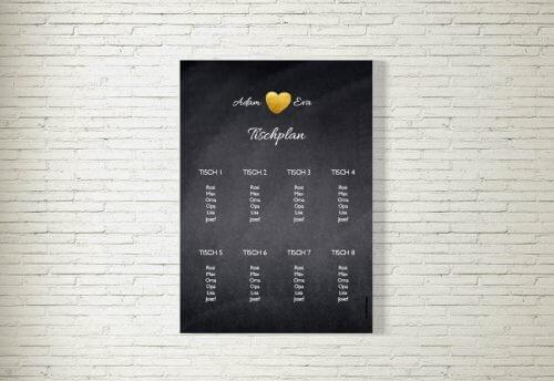 Tischplan Hochzeit Herzgold