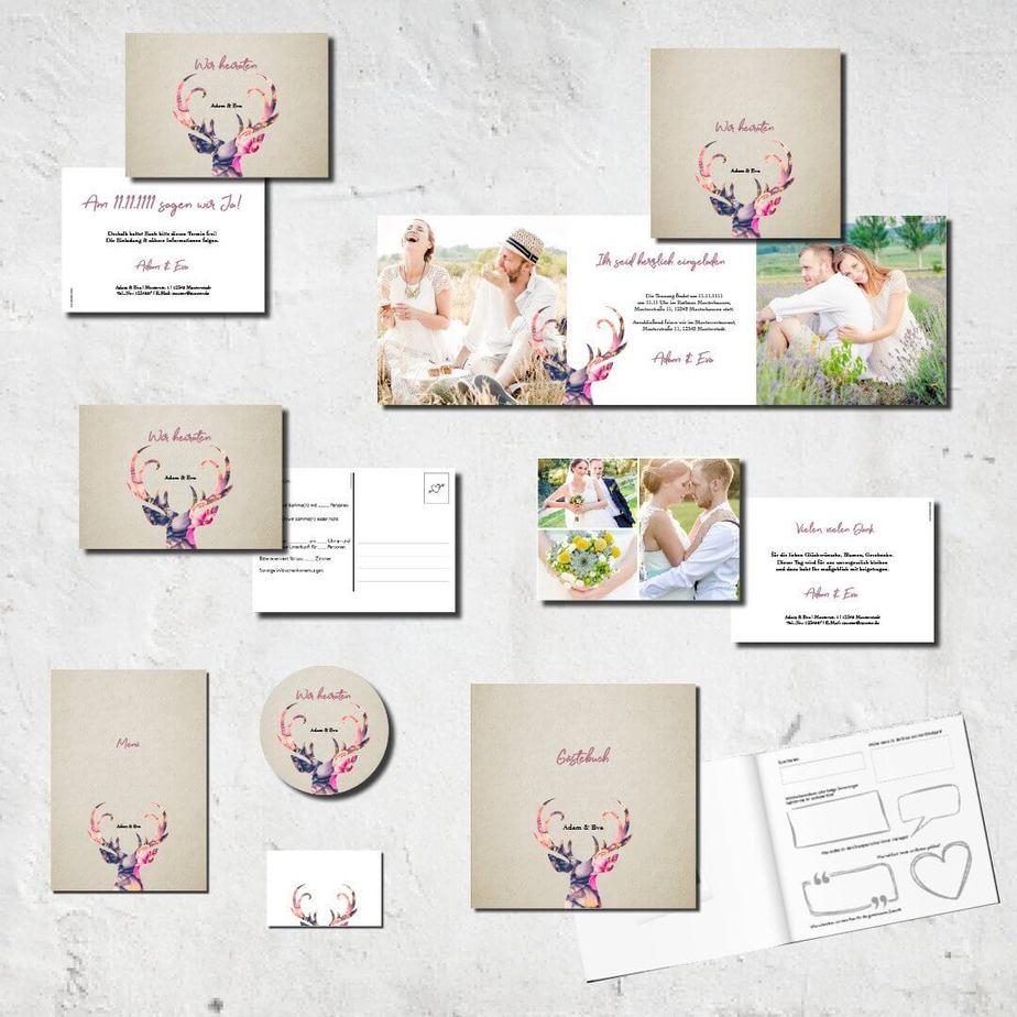 hochzeits set kartlerei karten drucken bierdeckel menuekarten gaestebuch dankeskarten hochzeit 20184 - Hochzeitskarten Set – Alles muss perfekt sein!