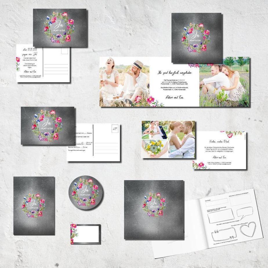 hochzeits set kartlerei karten drucken bierdeckel menuekarten gaestebuch dankeskarten hochzeit 20185 - Hochzeitskarten Set – Alles muss perfekt sein!