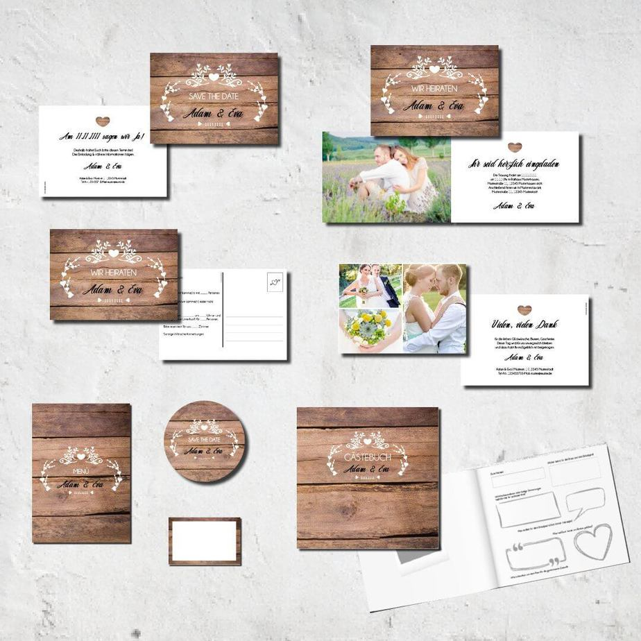 hochzeits set kartlerei karten drucken bierdeckel menuekarten gaestebuch dankeskarten hochzeit 20187 - Hochzeitskarten Set – Alles muss perfekt sein!