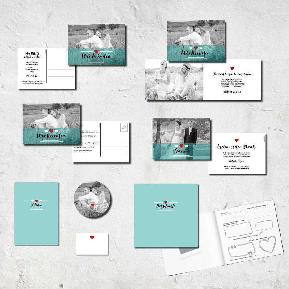 hochzeits set kartlerei karten drucken bierdeckel menuekarten gaestebuch dankeskarten hochzeit 20188 - Hochzeitskarten Set – Alles muss perfekt sein!