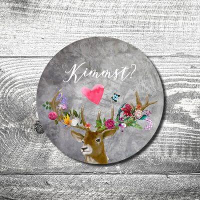 kartlerei bierdeckel drucken bayern bayrisch einladungskarten flower power hirsch 400x400 - Heimatgefühl