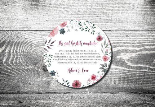 Bierdeckel Hochzeit Blumenholz