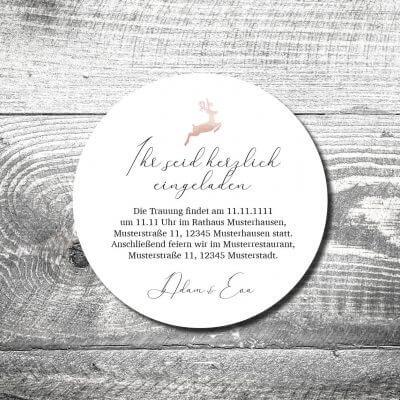 Bierdeckel Hochzeit Hirsch Rosegold