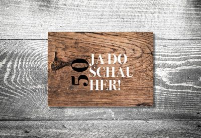 kartlerei karten drucken bayern geburtstagseinladungskarten bayrisch heimatgefuehl da schaugst 400x275 - Geburtstagseinladung auf Bayrisch