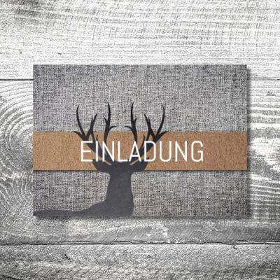 kartlerei karten drucken bayern geburtstagseinladungskarten bayrisch heimatgefuehl grauer hirsch 400x400 - Geburtstagseinladung auf Bayrisch