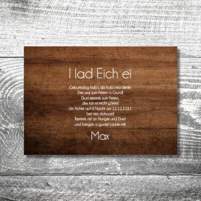 Oans Zwoa Feiern Holz | 2-Seitig | ab 0,70 €