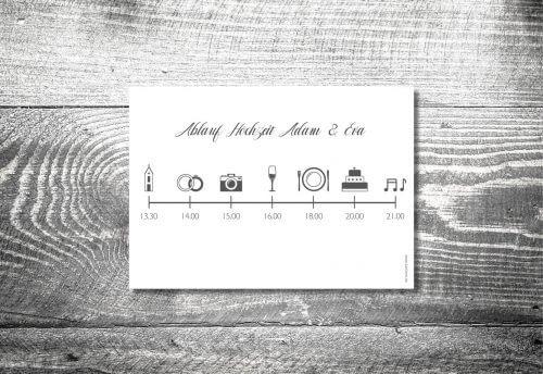 Einlegblatt Hochzeitskarten Timeline   1-Seitig bedruckt