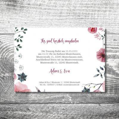 Hochzeit Blumenholz | 2-Seitig