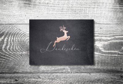 kartlerei karten drucken hochzeitseinladung heiraten bayrisch heimatgefuehl hirsch rosegold danke 400x275 - Dankeskarte mit Fotostreifen