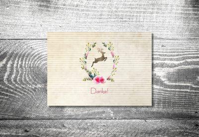 kartlerei karten drucken hochzeitseinladung heiraten bayrisch heimatgefuehl hirschkranz danke 400x275 - Dankeskarte mit Fotostreifen