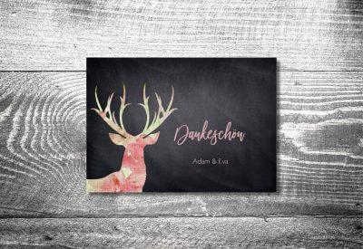 kartlerei karten drucken hochzeitseinladung heiraten bayrisch heimatgefuehl leinenhirsch danke 400x275 - Dankeskarte mit Fotostreifen