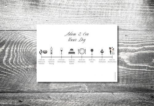 Einlegblatt Hochzeitskarten Timeline Bayrisch | 1-Seitig bedruckt