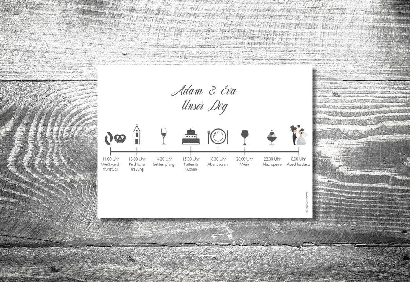 kartlerei karten drucken einladungskarten hochzeit einlegeblatt timeline zeitplan bayrische einladung - Hochzeitskarten