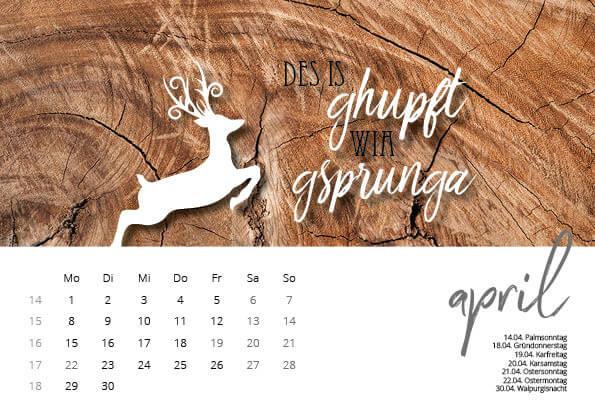 Bayrischer Kalender 2019 April
