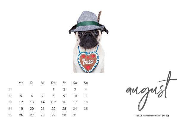 Bayrischer Kalender 2019 August