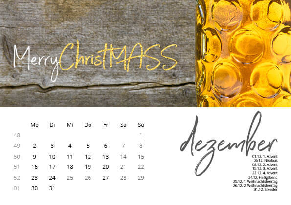 Bayrischer Kalender 2019 Dezember
