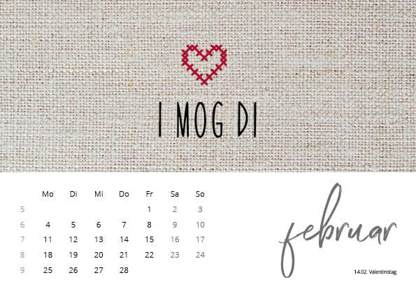 Bayrischer Kalender 2019 Februar