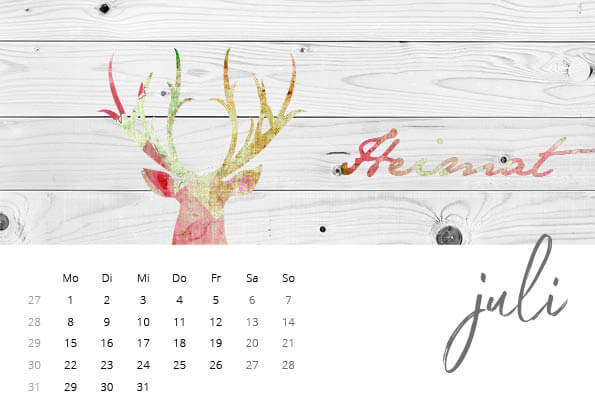 Bayrischer Kalender 2019 Juli