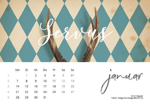 Bayrischer Kalender 2019 Januar