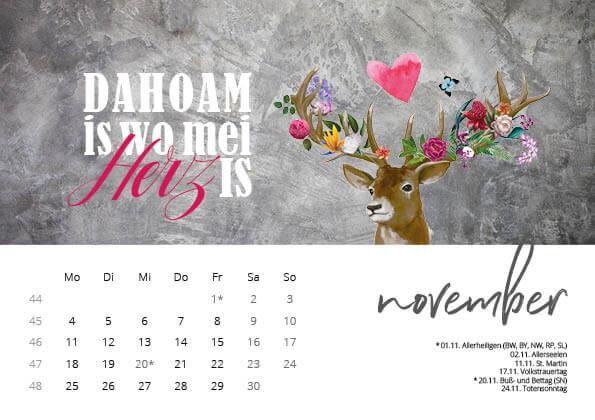 Bayrischer Kalender 2019 November