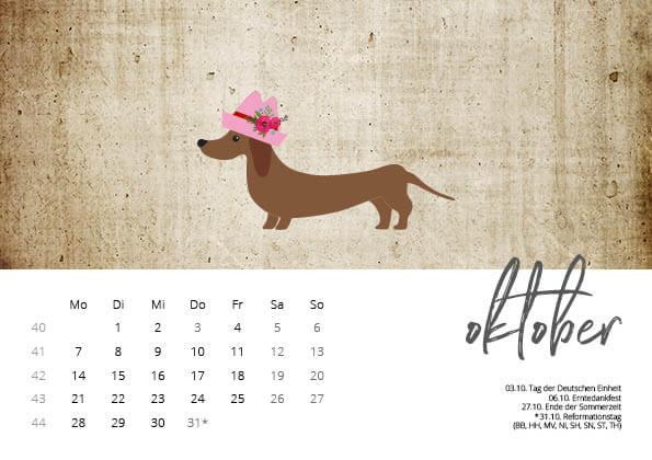 Bayrischer Kalender 2019 Oktober