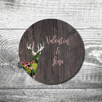 Bierdeckel Hochzeit Blumenhirsch