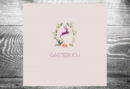 Gästebuch Hirschkranz lila
