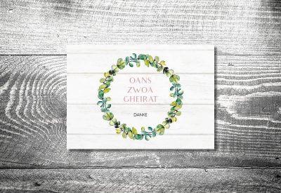 kartlerei karten drucken hochzeitseinladung heiraten bayrisch trachtenhochzeit bayrisches vintage8 400x275 - Dankeskarte mit Fotostreifen