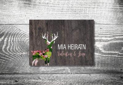 kartlerei karten drucken hochzeitseinladung heiraten bayrisch trachtenhochzeit blumenhirsch 400x275 - Trachtenhochzeit