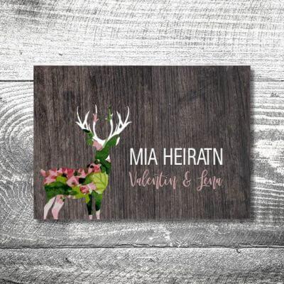 Hochzeit Blumenhirsch | 4-Seitig | ab 1,00 €