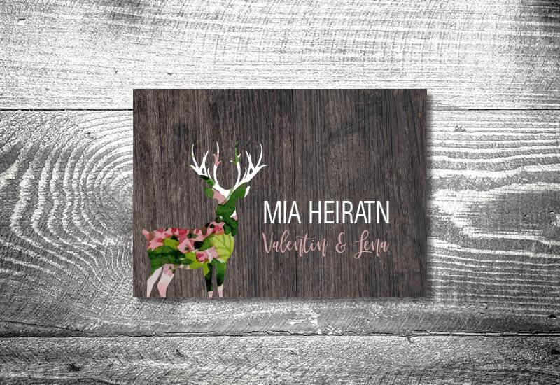 kartlerei karten drucken hochzeitseinladung heiraten bayrisch trachtenhochzeit blumenhirsch - Hochzeitscountdown Freebie