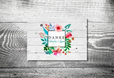 kartlerei karten drucken hochzeitseinladung heiraten bayrisch trachtenhochzeit blumenliebe8 400x275 - Dankeskarte mit Fotostreifen