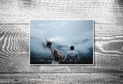 kartlerei karten drucken hochzeitseinladung heiraten bayrisch trachtenhochzeit dankeskarten 400x275 - Dankeskarte mit Fotostreifen