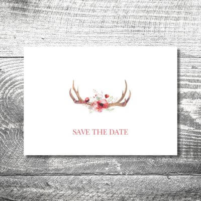 Save the Date Floralgeweih | 2-Seitig | ab 0,70 €