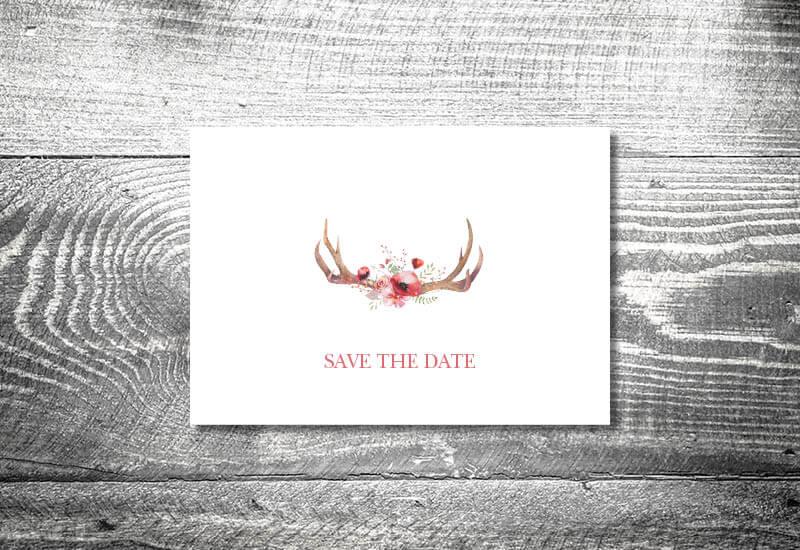 kartlerei karten drucken hochzeitseinladung heiraten bayrisch trachtenhochzeit floralgeweih - Hochzeitskarten