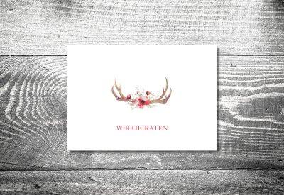 kartlerei karten drucken hochzeitseinladung heiraten bayrisch trachtenhochzeit floralgeweih4 400x275 - Trachtenhochzeit