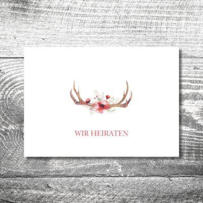 Hochzeit Floralgeweih | 4-Seitig | ab 1,00 €