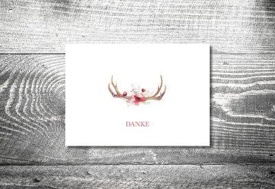 kartlerei karten drucken hochzeitseinladung heiraten bayrisch trachtenhochzeit floralgeweih8 400x275 - Dankeskarte mit Fotostreifen