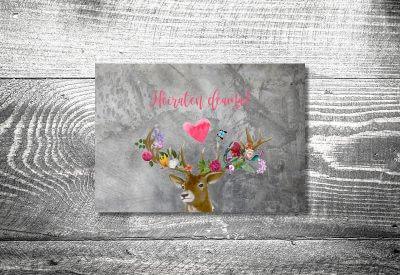 kartlerei karten drucken hochzeitseinladung heiraten bayrisch trachtenhochzeit flower power hirsch 400x275 - Change the Date