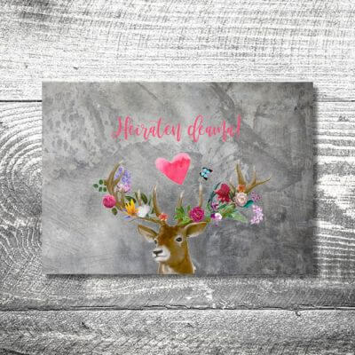 Save the Date Flower-Power-Hirsch | 2-Seitig | ab 0,70 €