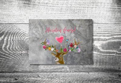 kartlerei karten drucken hochzeitseinladung heiraten bayrisch trachtenhochzeit flower power hirsch4 400x275 - Trachtenhochzeit