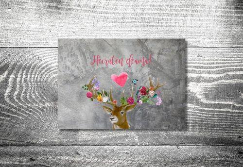 Hochzeit Flower-Power-Hirsch   4-Seitig