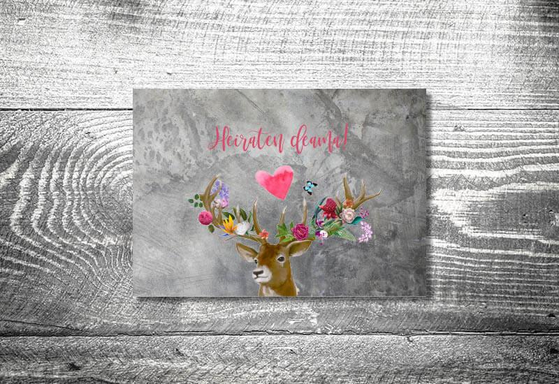 kartlerei karten drucken hochzeitseinladung heiraten bayrisch trachtenhochzeit flower power hirsch4 - Hochzeitscountdown Freebie