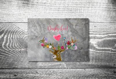 kartlerei karten drucken hochzeitseinladung heiraten bayrisch trachtenhochzeit flower power hirsch8 400x275 - Dankeskarte mit Fotostreifen