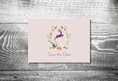 kartlerei karten drucken hochzeitseinladung heiraten bayrisch trachtenhochzeit hirschkranz lila 400x275 - Change the Date